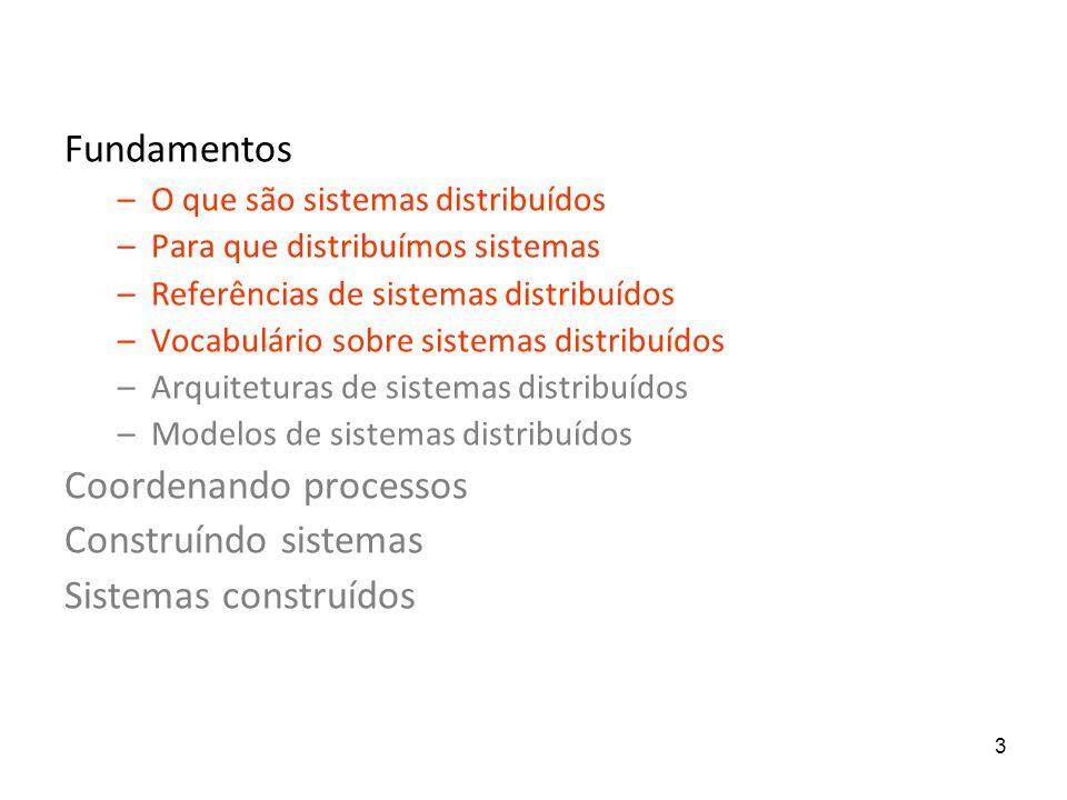3 Fundamentos –O que são sistemas distribuídos –Para que distribuímos sistemas –Referências de sistemas distribuídos –Vocabulário sobre sistemas distr