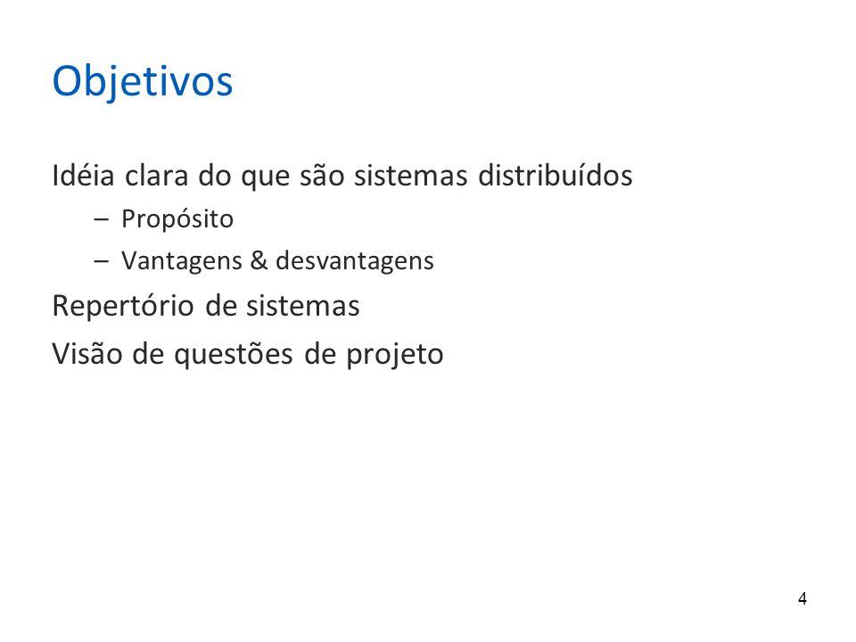4 Objetivos Idéia clara do que são sistemas distribuídos –Propósito –Vantagens & desvantagens Repertório de sistemas Visão de questões de projeto