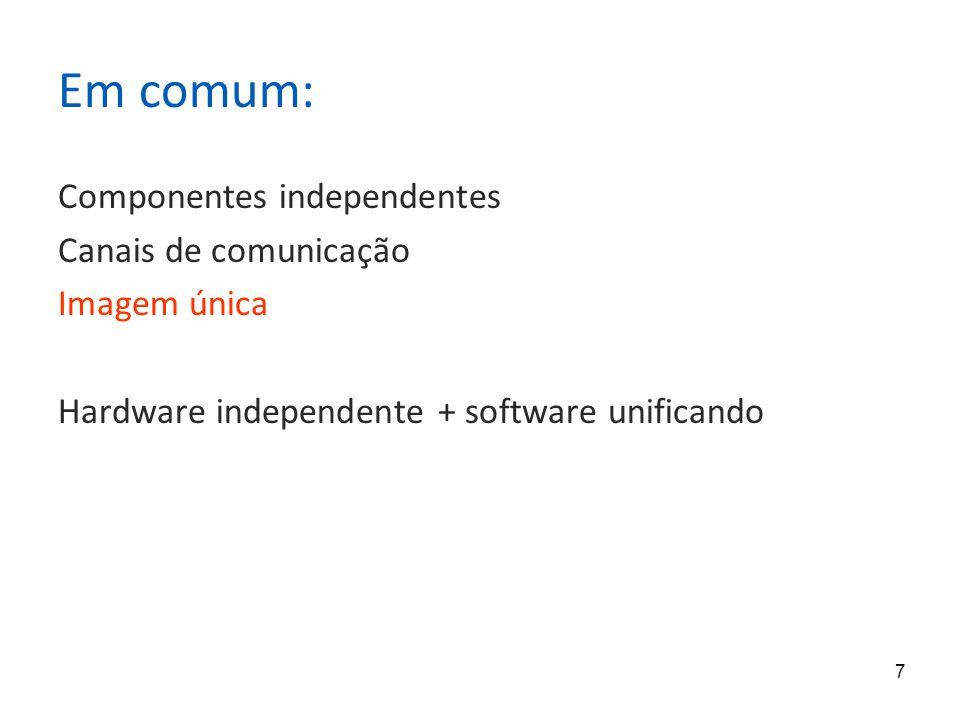 7 Em comum: Componentes independentes Canais de comunicação Imagem única Hardware independente + software unificando