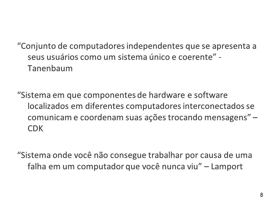 8 Conjunto de computadores independentes que se apresenta a seus usuários como um sistema único e coerente - Tanenbaum Sistema em que componentes de h