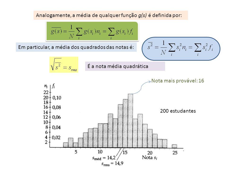 Analogamente, a média de qualquer função g(s) é definida por: Em particular, a média dos quadrados das notas é: É a nota média quadrática Nota mais pr