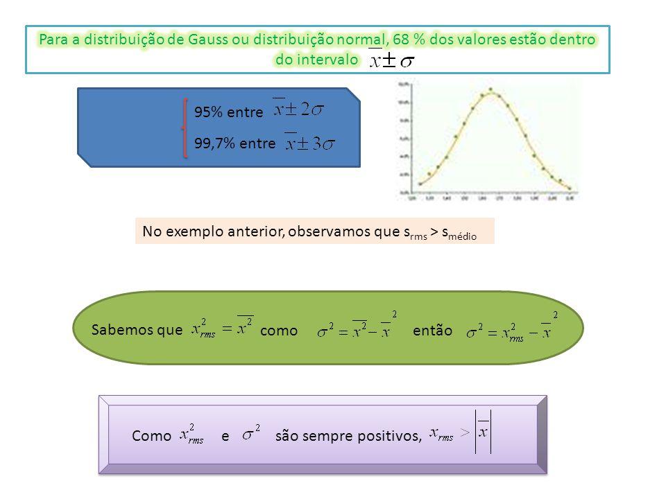 95% entre 99,7% entre No exemplo anterior, observamos que s rms > s médio Sabemos que como então Como e são sempre positivos,
