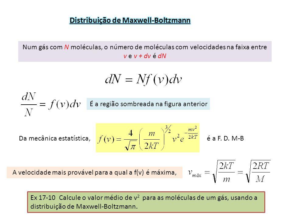 Num gás com N moléculas, o número de moléculas com velocidades na faixa entre v e v + dv é dN É a região sombreada na figura anterior Da mecânica estatística, é a F.