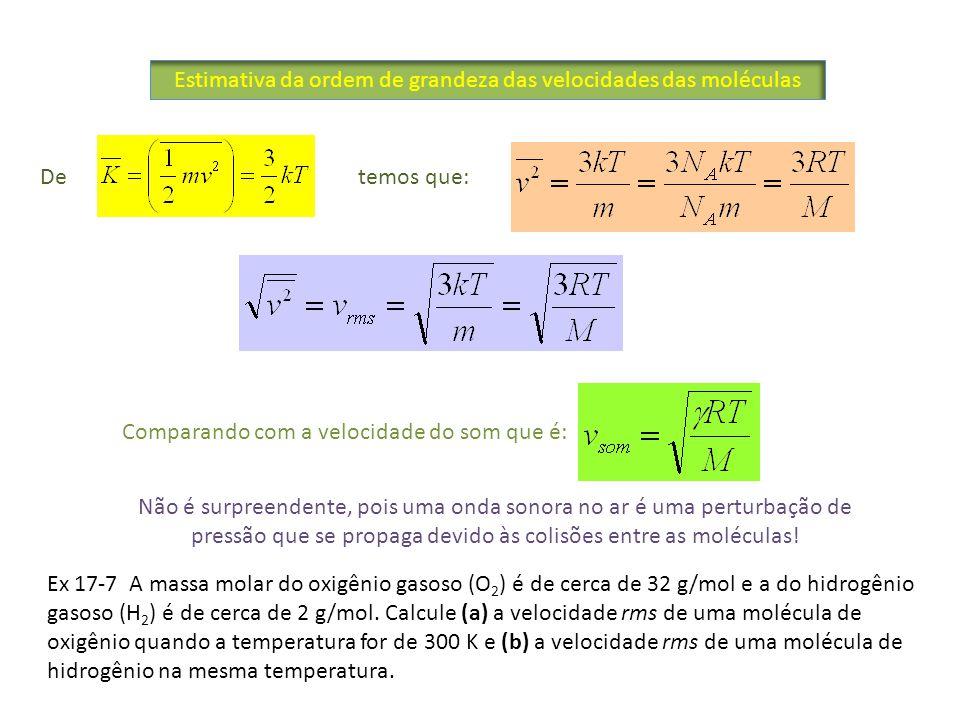 Estimativa da ordem de grandeza das velocidades das moléculas De temos que: Comparando com a velocidade do som que é: Ex 17-7 A massa molar do oxigêni