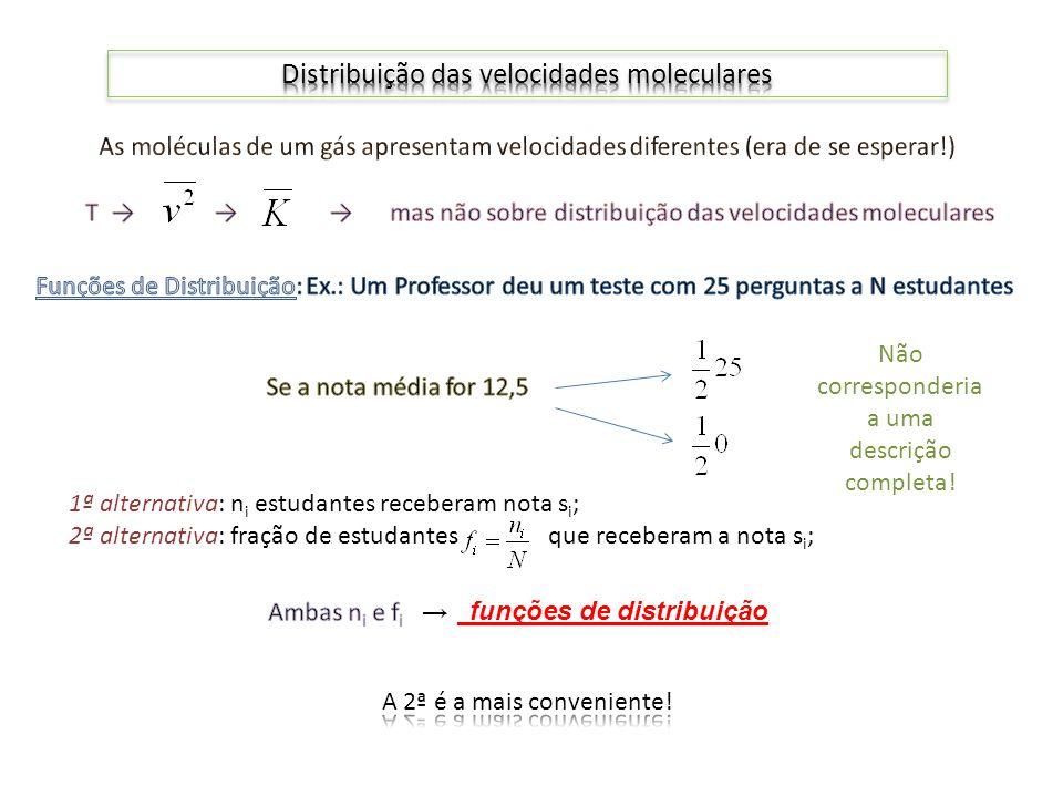 1ª alternativa: n i estudantes receberam nota s i ; 2ª alternativa: fração de estudantes que receberam a nota s i ; Não corresponderia a uma descrição completa!