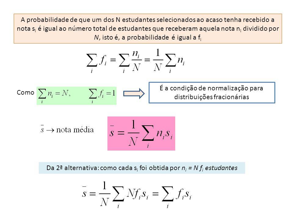 A probabilidade de que um dos N estudantes selecionados ao acaso tenha recebido a nota s i é igual ao número total de estudantes que receberam aquela nota n i dividido por N, isto é, a probabilidade é igual a f i Como É a condição de normalização para distribuições fracionárias Da 2ª alternativa: como cada s i foi obtida por n i = N f i estudantes