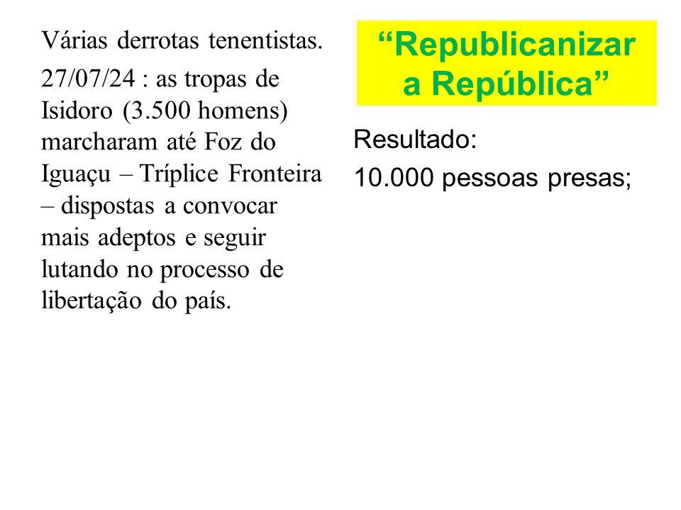 Republicanizar a República Várias derrotas tenentistas. 27/07/24 : as tropas de Isidoro (3.500 homens) marcharam até Foz do Iguaçu – Tríplice Fronteir