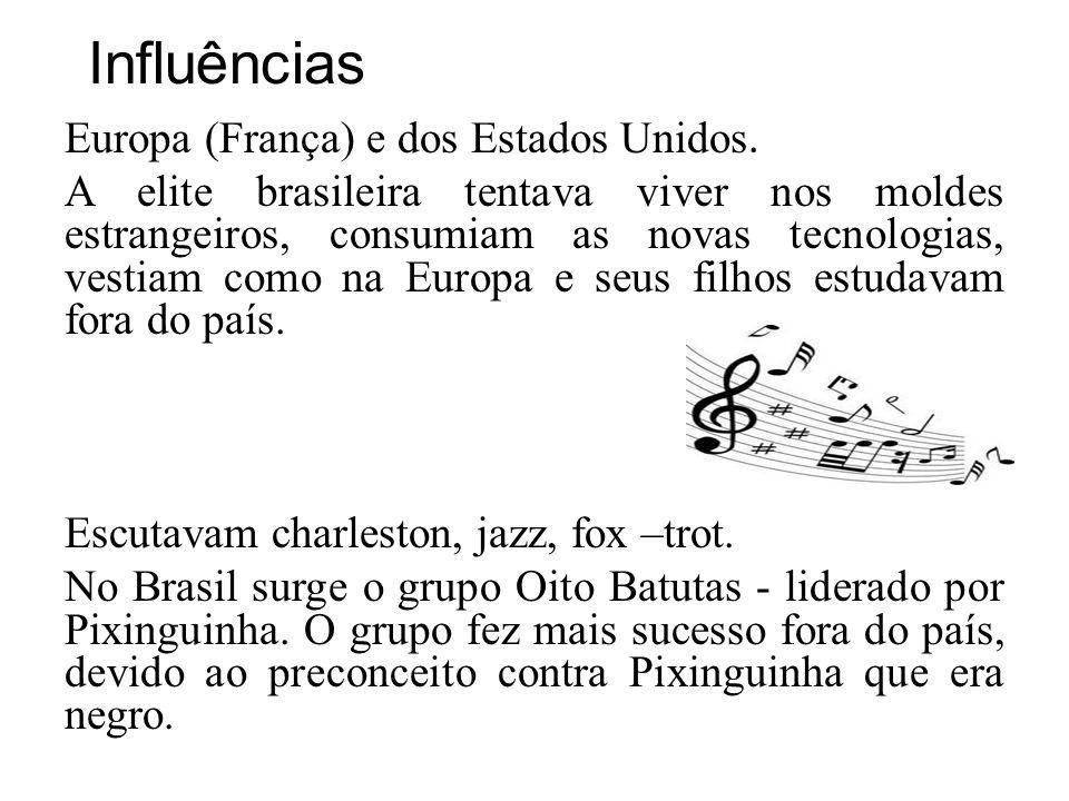 Influências Europa (França) e dos Estados Unidos. A elite brasileira tentava viver nos moldes estrangeiros, consumiam as novas tecnologias, vestiam co