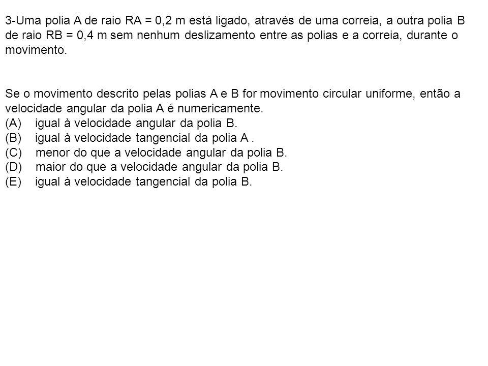 3-Uma polia A de raio RA = 0,2 m está ligado, através de uma correia, a outra polia B de raio RB = 0,4 m sem nenhum deslizamento entre as polias e a correia, durante o movimento.