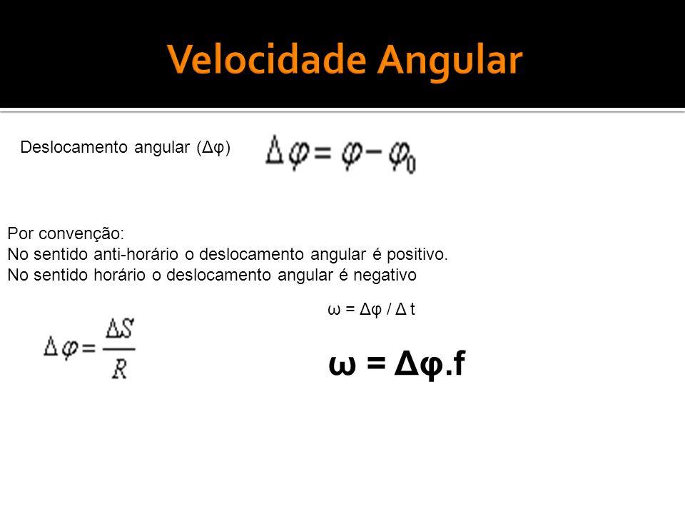 Deslocamento angular (Δφ) Por convenção: No sentido anti-horário o deslocamento angular é positivo.
