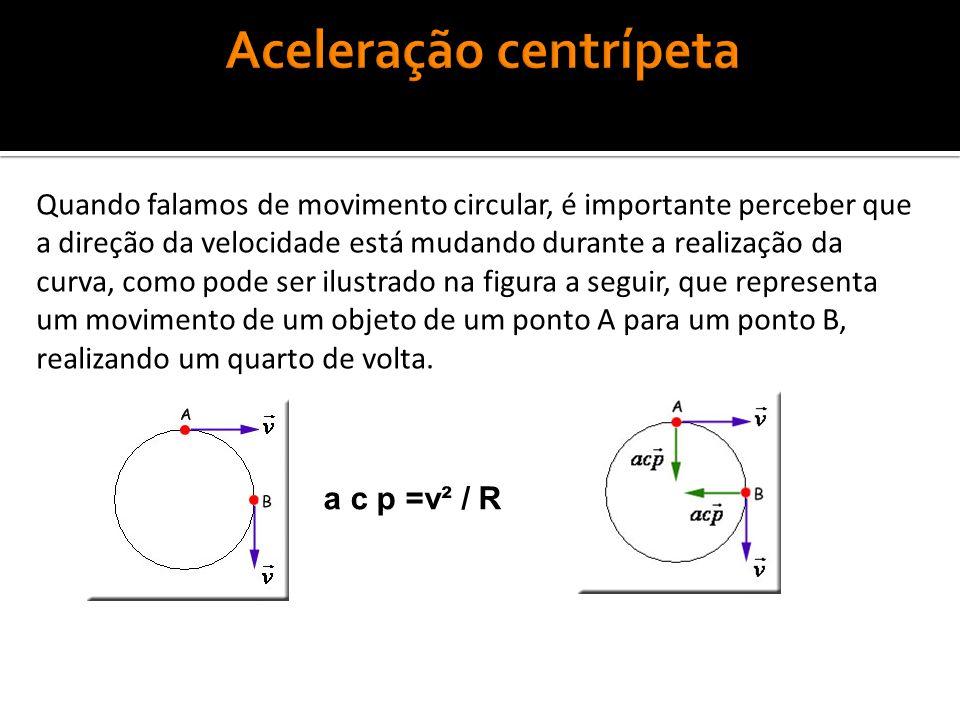 Quando falamos de movimento circular, é importante perceber que a direção da velocidade está mudando durante a realização da curva, como pode ser ilustrado na figura a seguir, que representa um movimento de um objeto de um ponto A para um ponto B, realizando um quarto de volta.