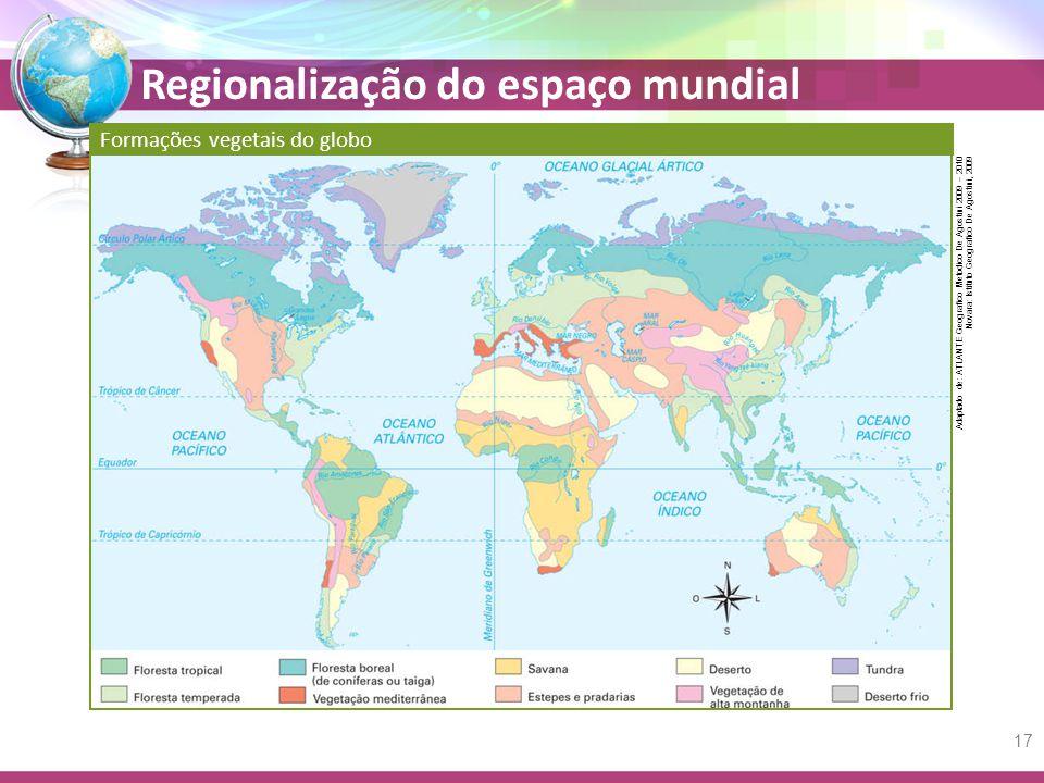Regionalização do espaço mundial Formações vegetais do globo 17 Adaptado de: ATLANTE Geografico Metodico De Agostini 2009 – 2010 Novara: Istituto Geografico De Agostini, 2009
