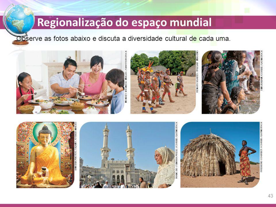 Regionalização do espaço mundial Observe as fotos abaixo e discuta a diversidade cultural de cada uma.