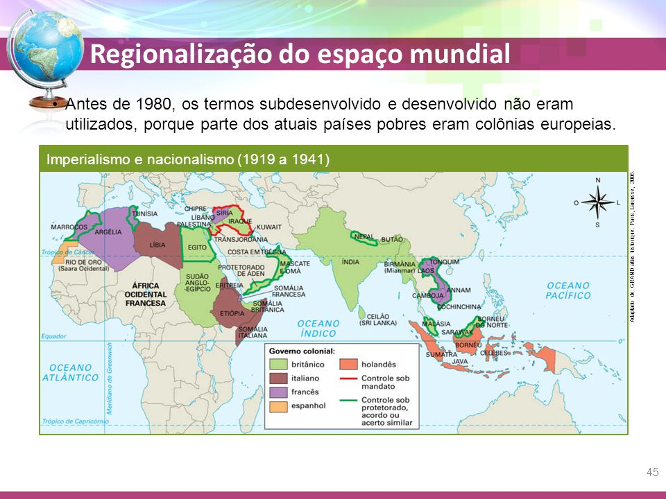 Regionalização do espaço mundial Antes de 1980, os termos subdesenvolvido e desenvolvido não eram utilizados, porque parte dos atuais países pobres eram colônias europeias.