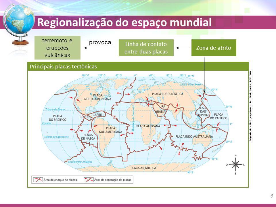 Regionalização do espaço mundial Zona de atrito Linha de contato entre duas placas terremoto e erupções vulcânicas provoca Adaptado de: ATLAS geográfico escolar.
