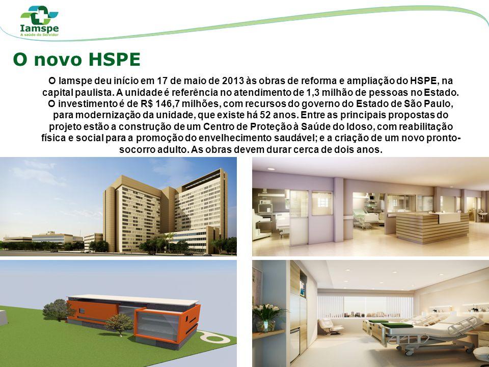 O novo HSPE O Iamspe deu início em 17 de maio de 2013 às obras de reforma e ampliação do HSPE, na capital paulista. A unidade é referência no atendime