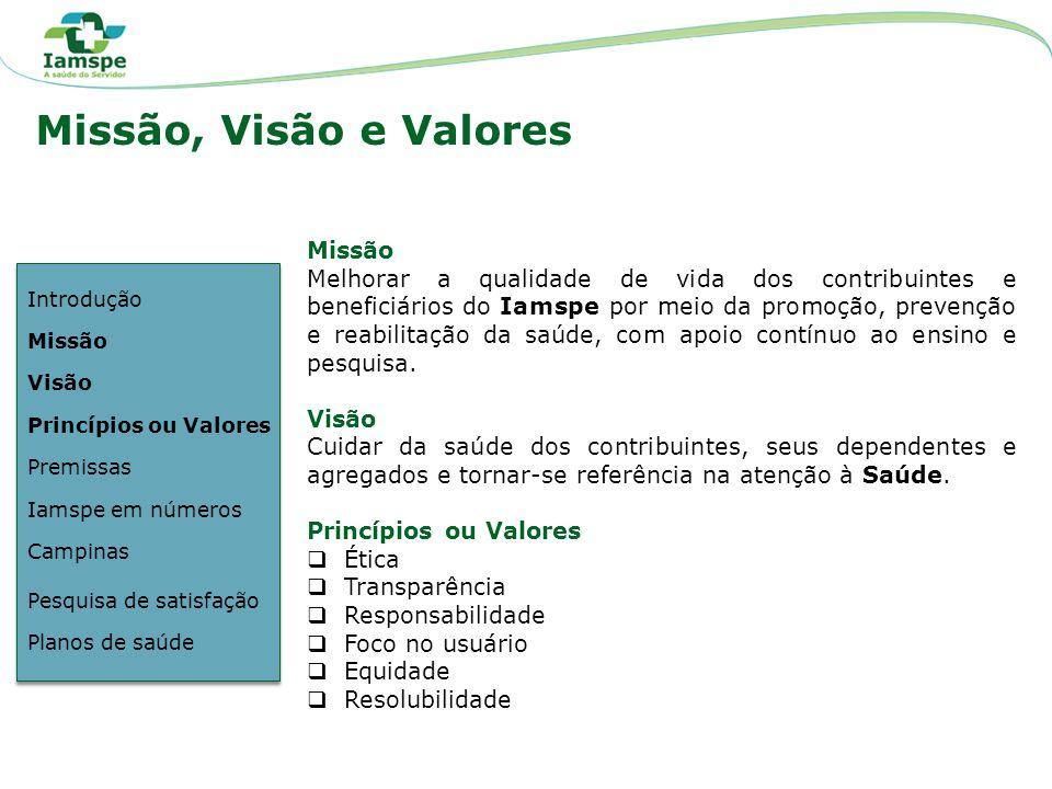 Missão, Visão e Valores Missão Melhorar a qualidade de vida dos contribuintes e beneficiários do Iamspe por meio da promoção, prevenção e reabilitação