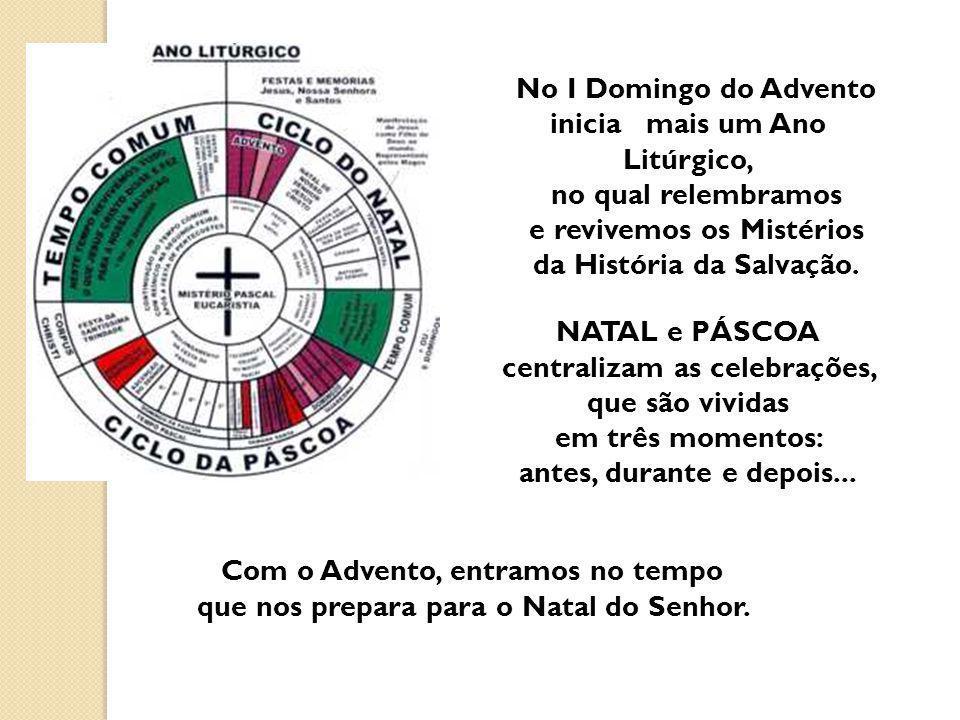 No I Domingo do Advento inicia mais um Ano Litúrgico, no qual relembramos e revivemos os Mistérios da História da Salvação. NATAL e PÁSCOA centralizam