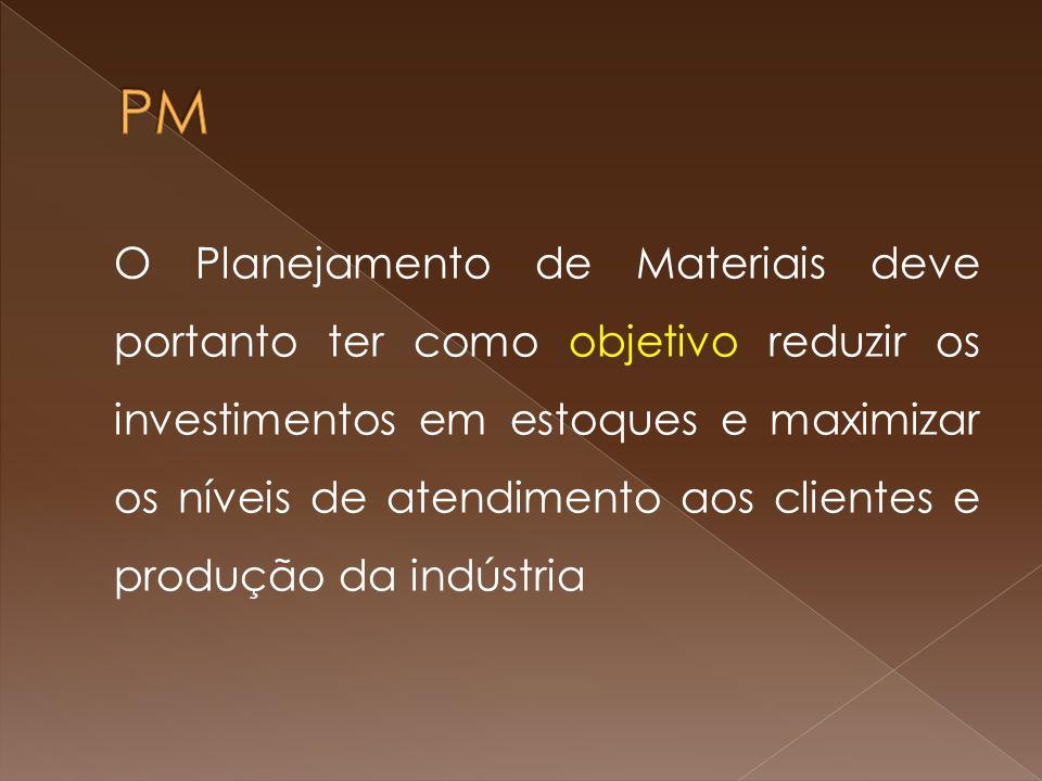 O Planejamento de Materiais deve portanto ter como objetivo reduzir os investimentos em estoques e maximizar os níveis de atendimento aos clientes e produção da indústria