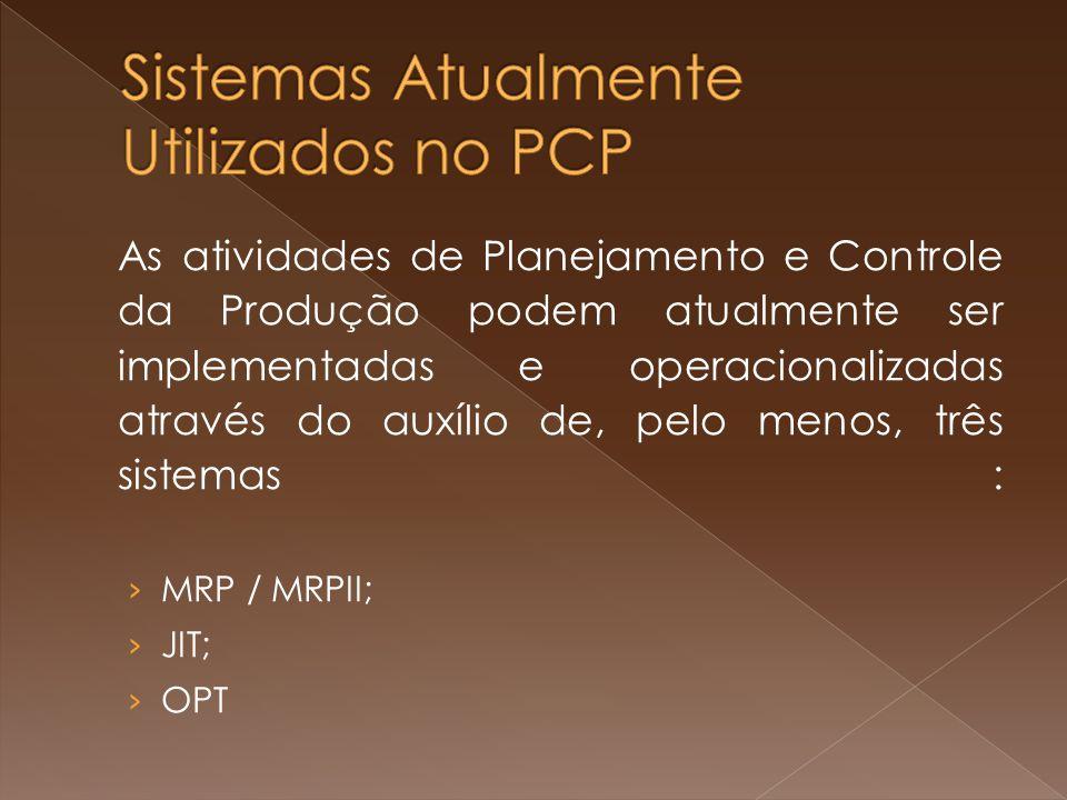As atividades de Planejamento e Controle da Produção podem atualmente ser implementadas e operacionalizadas através do auxílio de, pelo menos, três sistemas : MRP / MRPII; JIT; OPT