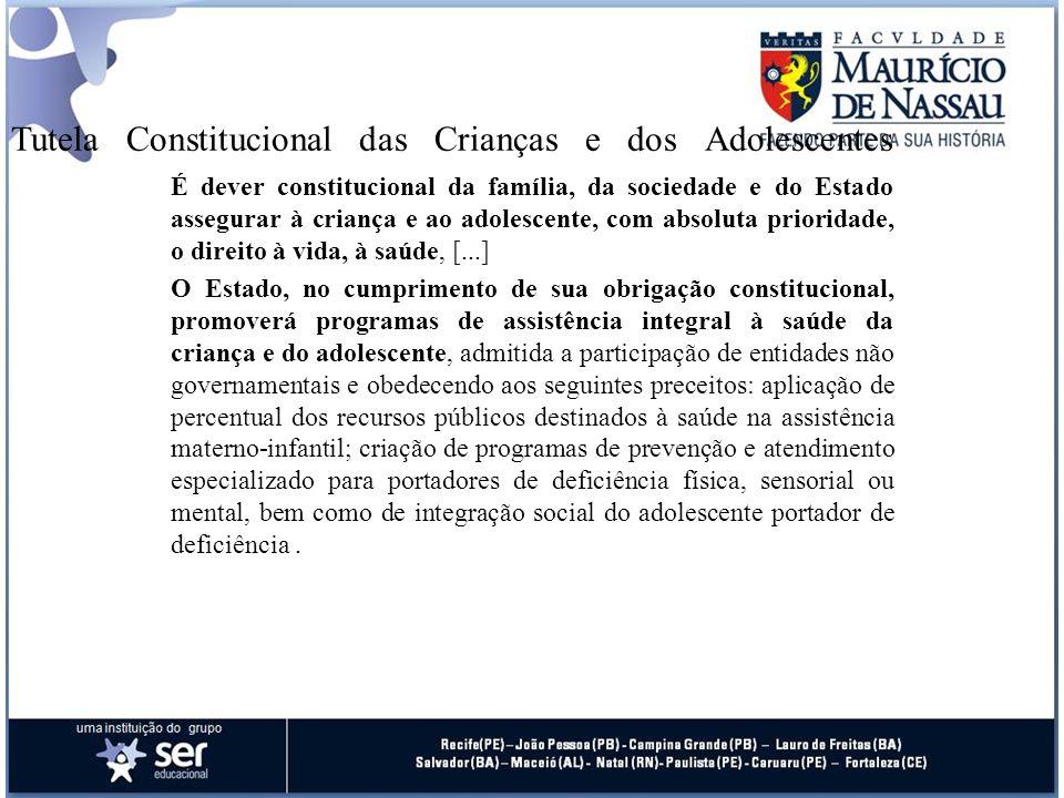 Tutela Constitucional das Crianças e dos Adolescentes É dever constitucional da família, da sociedade e do Estado assegurar à criança e ao adolescente