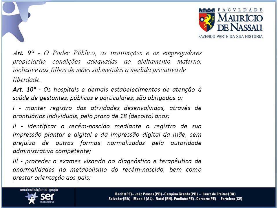 Art. 9° - O Poder Público, as instituições e os empregadores propiciarão condições adequadas ao aleitamento materno, inclusive aos filhos de mães subm