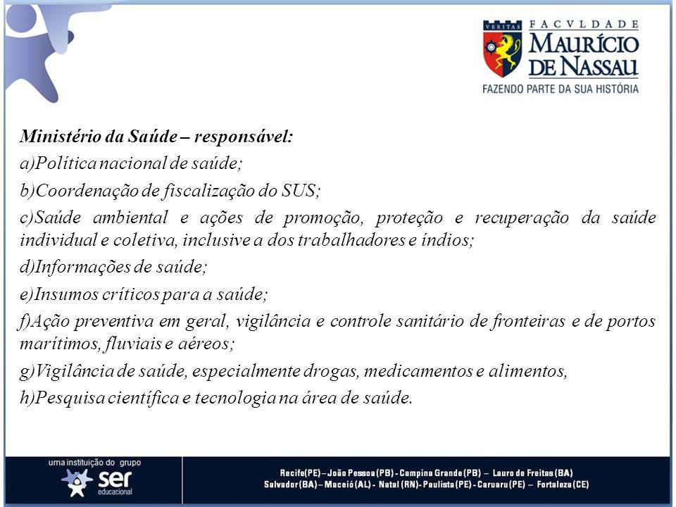 Ministério da Saúde – responsável: a)Política nacional de saúde; b)Coordenação de fiscalização do SUS; c)Saúde ambiental e ações de promoção, proteção
