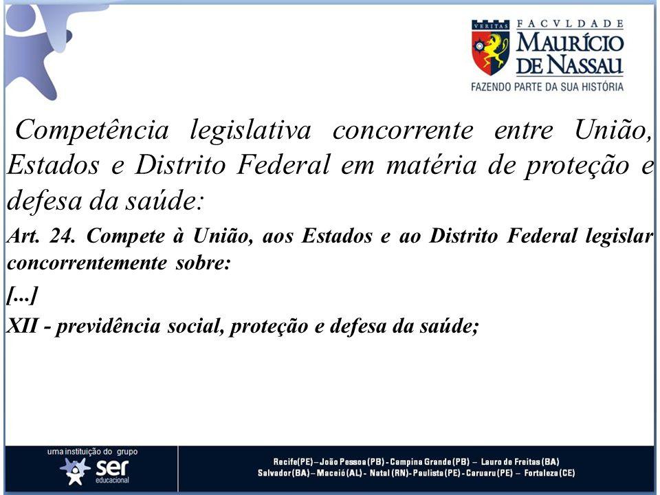Competência legislativa concorrente entre União, Estados e Distrito Federal em matéria de proteção e defesa da saúde: Art. 24. Compete à União, aos Es