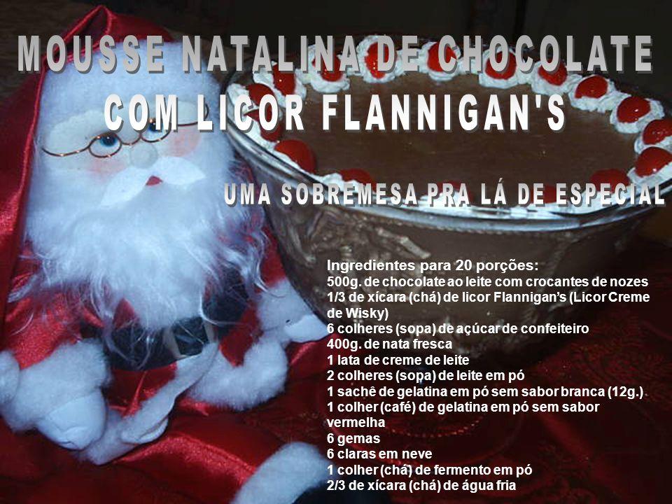 Ingredientes para 20 porções: 500g. de chocolate ao leite com crocantes de nozes 1/3 de xícara (chá) de licor Flannigans (Licor Creme de Wisky) 6 colh