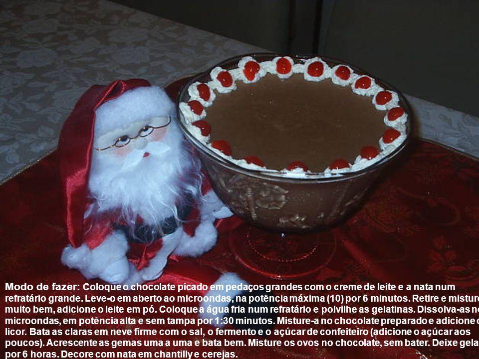 Modo de fazer: Coloque o chocolate picado em pedaços grandes com o creme de leite e a nata num refratário grande. Leve-o em aberto ao microondas, na p