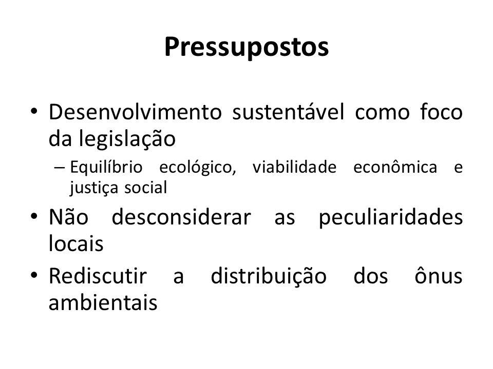 Pressupostos Desenvolvimento sustentável como foco da legislação – Equilíbrio ecológico, viabilidade econômica e justiça social Não desconsiderar as p