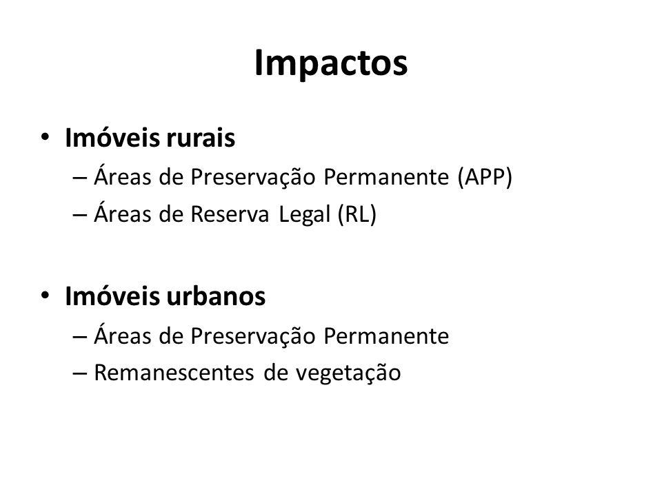 Impactos Imóveis rurais – Áreas de Preservação Permanente (APP) – Áreas de Reserva Legal (RL) Imóveis urbanos – Áreas de Preservação Permanente – Remanescentes de vegetação