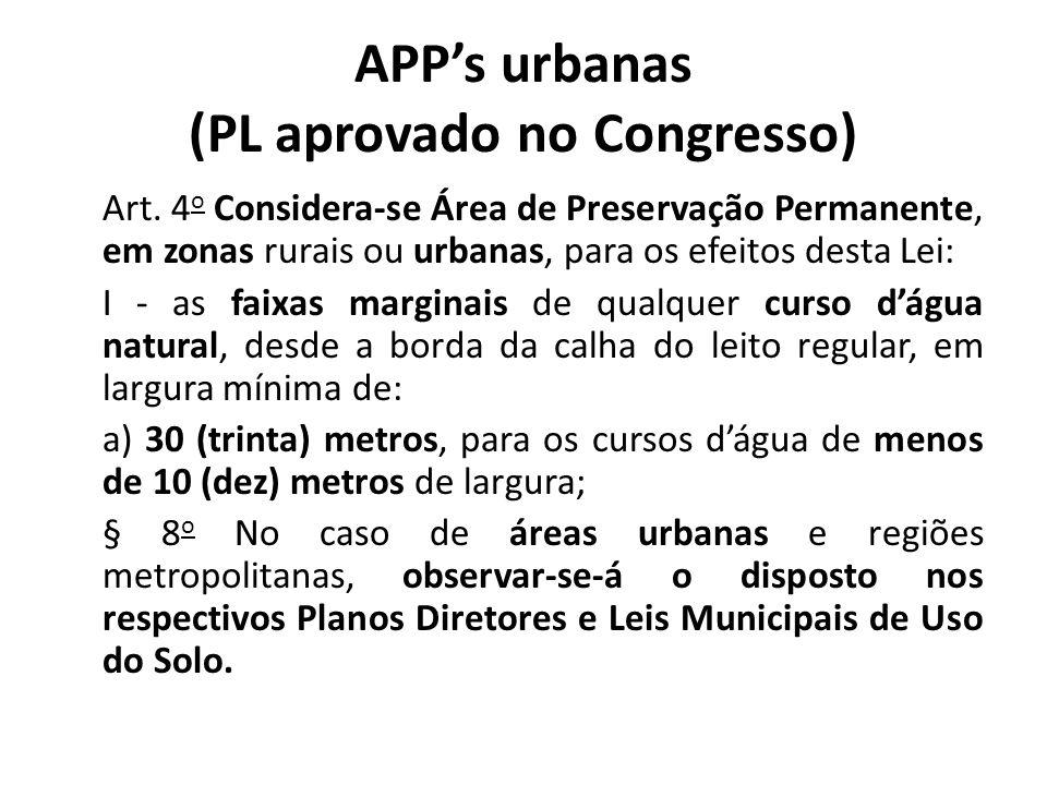 APPs urbanas (PL aprovado no Congresso) Art. 4 o Considera-se Área de Preservação Permanente, em zonas rurais ou urbanas, para os efeitos desta Lei: I