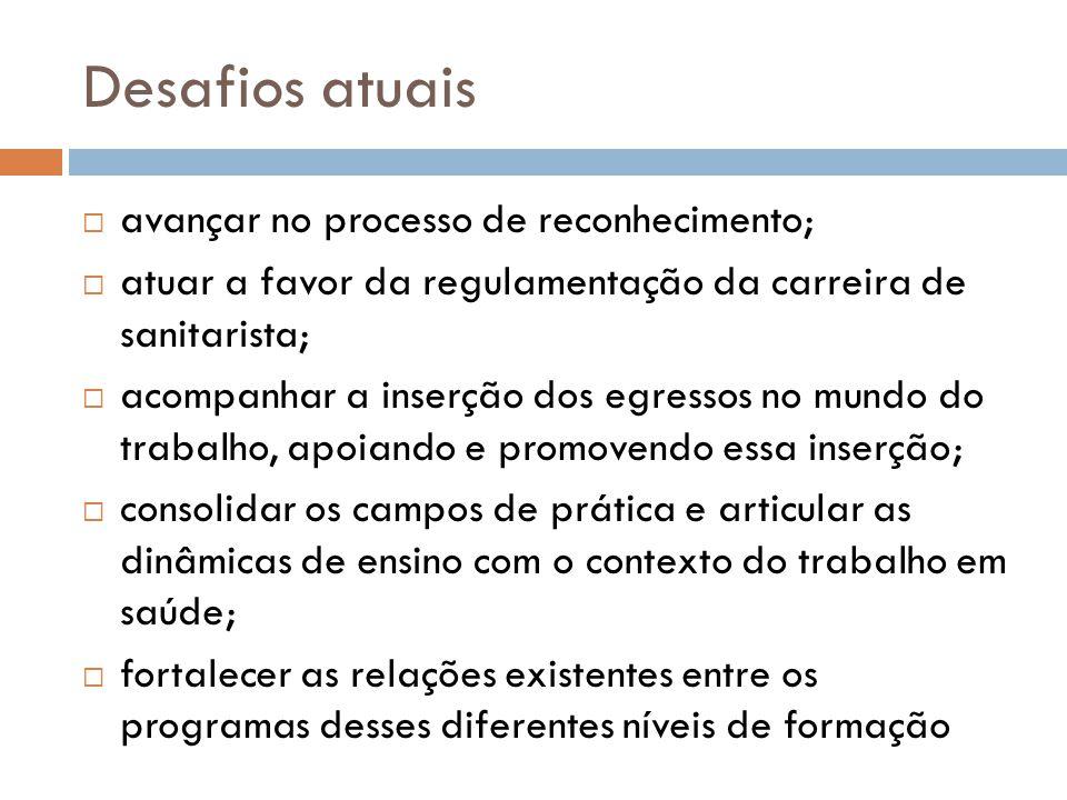 Desafios atuais avançar no processo de reconhecimento; atuar a favor da regulamentação da carreira de sanitarista; acompanhar a inserção dos egressos