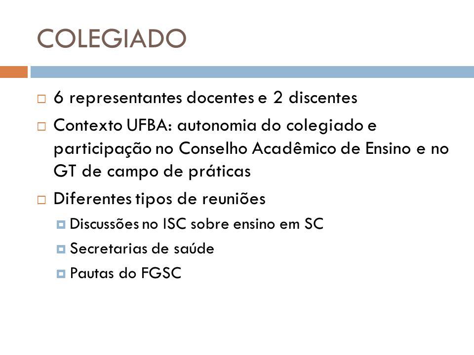 COLEGIADO 6 representantes docentes e 2 discentes Contexto UFBA: autonomia do colegiado e participação no Conselho Acadêmico de Ensino e no GT de camp