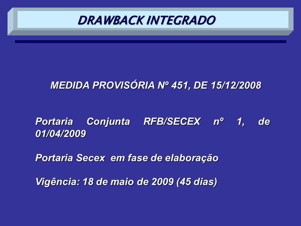 MEDIDA PROVISÓRIA Nº 451, DE 15/12/2008 Portaria Conjunta RFB/SECEX nº 1, de 01/04/2009 Portaria Secex em fase de elaboração Vigência: 18 de maio de 2009 (45 dias) DRAWBACK INTEGRADO