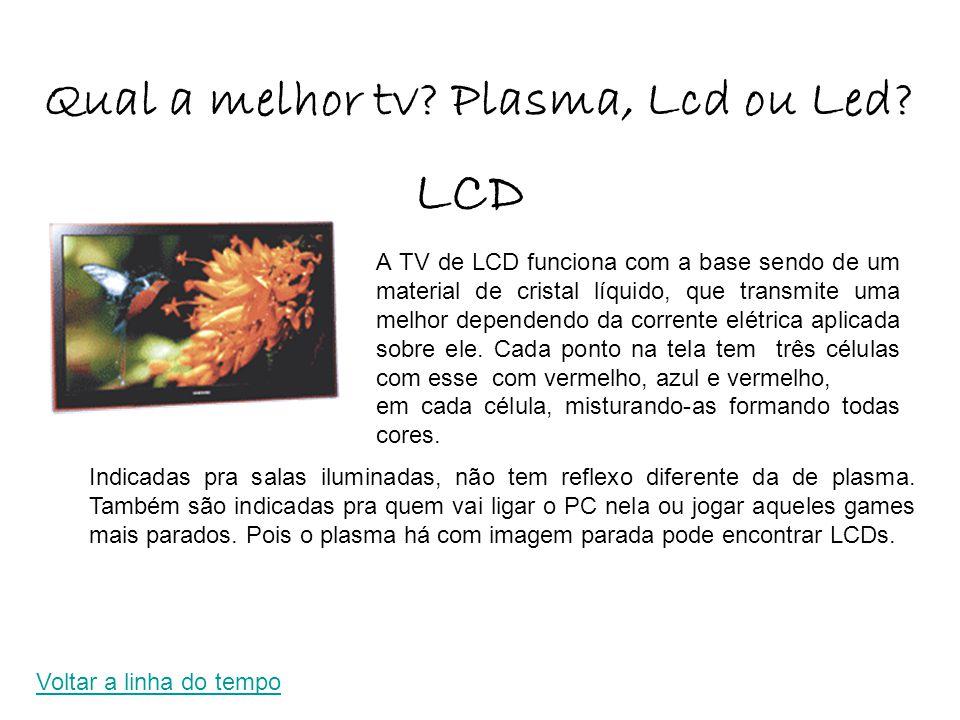 Qual a melhor tv? Plasma, Lcd ou Led? A TV de LCD funciona com a base sendo de um material de cristal líquido, que transmite uma melhor dependendo da