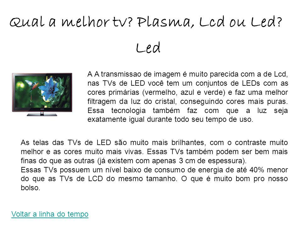 As telas das TVs de LED são muito mais brilhantes, com o contraste muito melhor e as cores muito mais vivas.