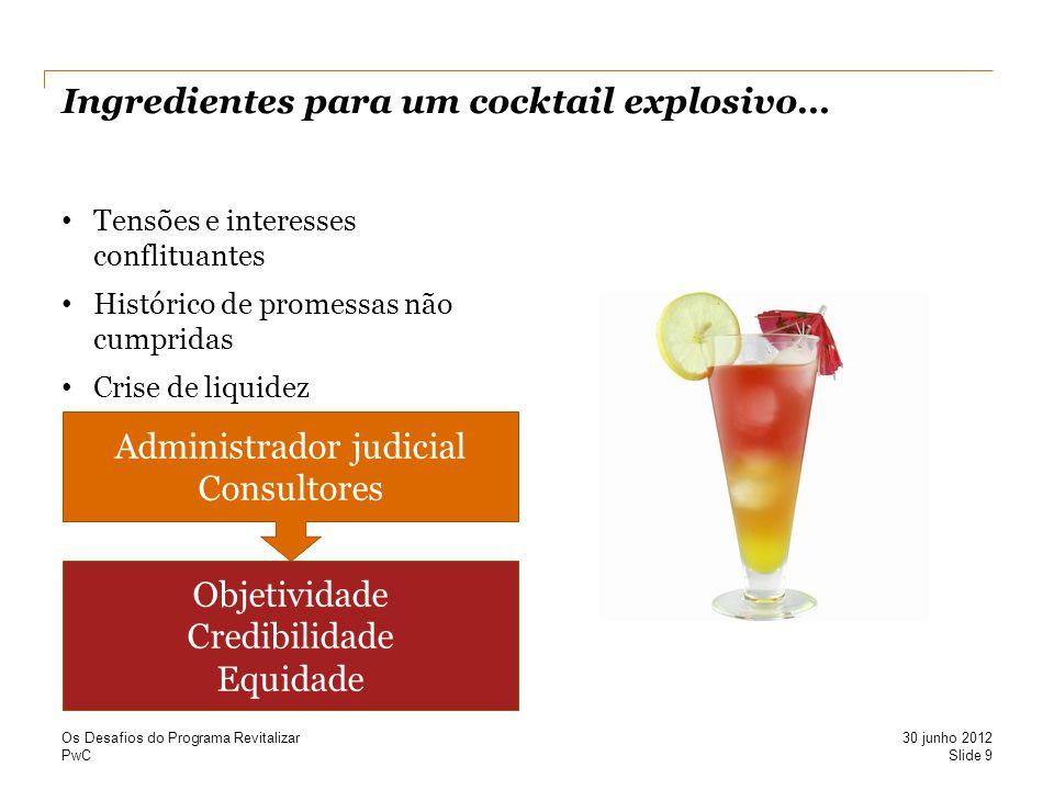 PwC Ingredientes para um cocktail explosivo… Tensões e interesses conflituantes Histórico de promessas não cumpridas Crise de liquidez Slide 9 30 junh