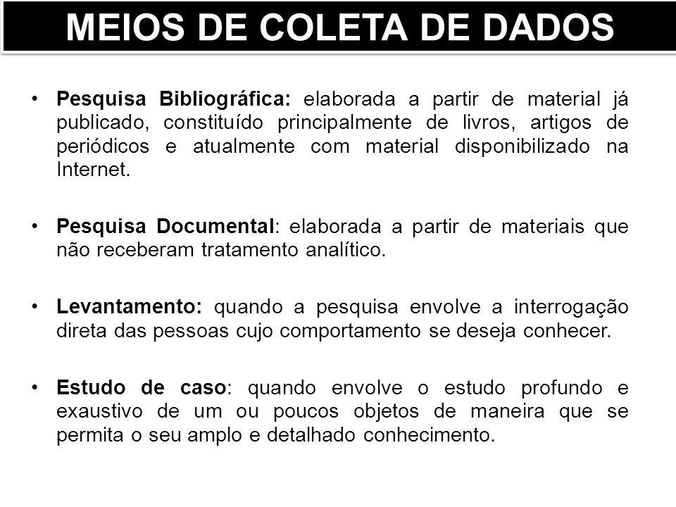 MEIOS DE COLETA DE DADOS Laville e Dionne (1999) classificam os tipos de pesquisa segundo as estratégias ou meios empregados na busca da informação em: pesquisa com dados criados e pesquisas com dados existentes.