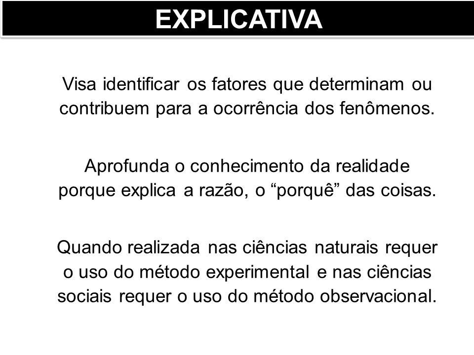 Visa descrever as características de determinada população ou fenômeno ou o estabelecimento de relações entre variáveis.