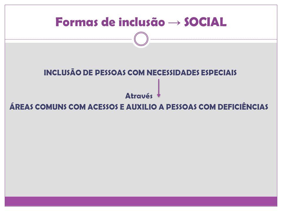 Formas de inclusão SOCIAL INCLUSÃO DE PESSOAS COM NECESSIDADES ESPECIAIS Através ÁREAS COMUNS COM ACESSOS E AUXILIO A PESSOAS COM DEFICIÊNCIAS