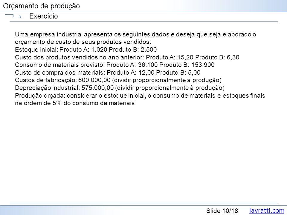 lavratti.com Slide 10/18 Orçamento de produção Exercício Uma empresa industrial apresenta os seguintes dados e deseja que seja elaborado o orçamento d