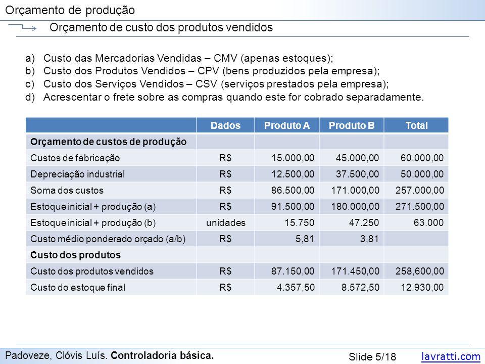 lavratti.com Slide 5/18 Orçamento de produção Orçamento de custo dos produtos vendidos Padoveze, Clóvis Luís. Controladoria básica. a)Custo das Mercad
