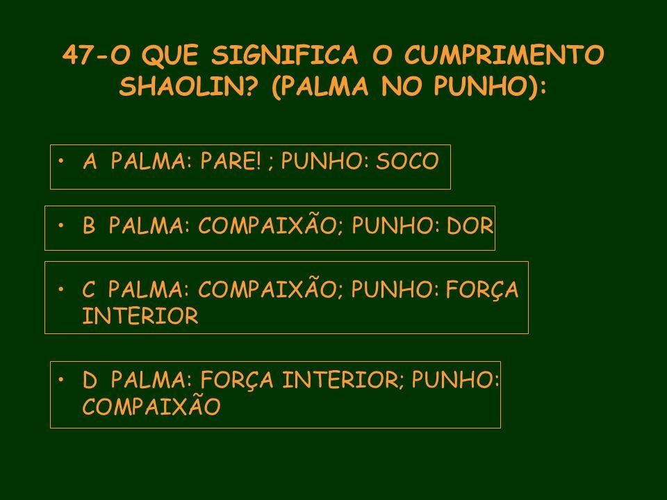 47-O QUE SIGNIFICA O CUMPRIMENTO SHAOLIN. (PALMA NO PUNHO): A PALMA: PARE.