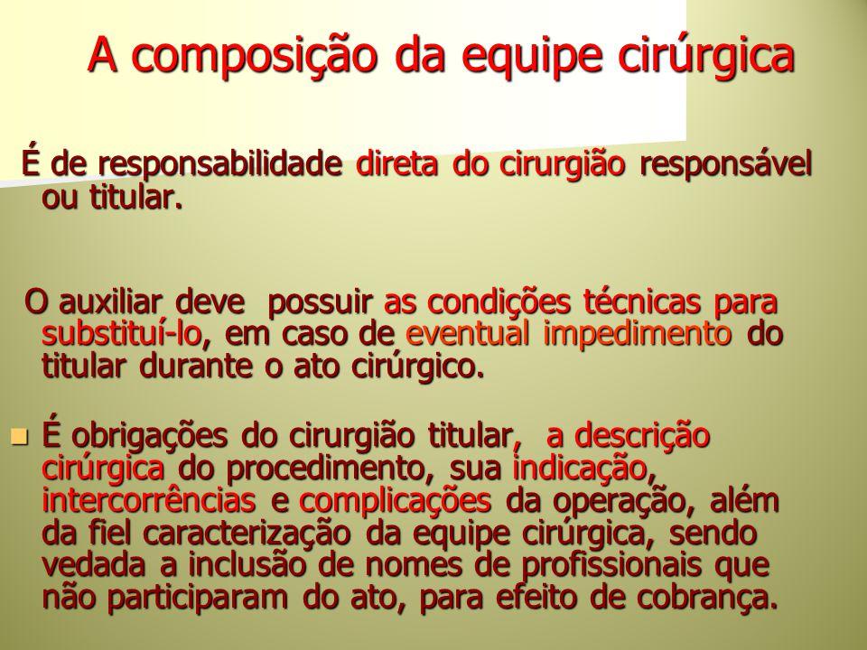 A composição da equipe cirúrgica A composição da equipe cirúrgica É de responsabilidade direta do cirurgião responsável ou titular. É de responsabilid