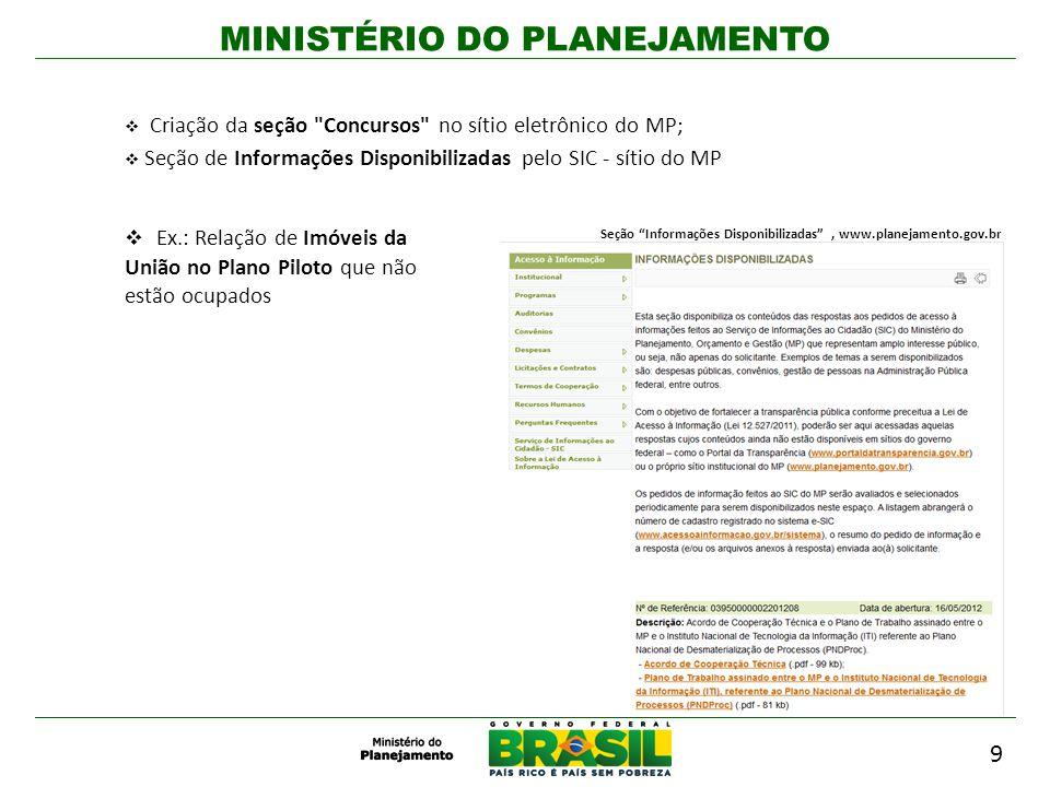 MINISTÉRIO DO PLANEJAMENTO Criação da seção