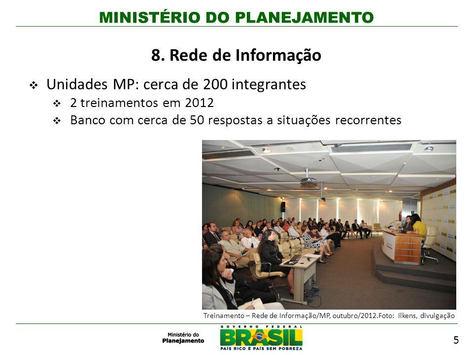 MINISTÉRIO DO PLANEJAMENTO 5 8. Rede de Informação Unidades MP: cerca de 200 integrantes 2 treinamentos em 2012 Banco com cerca de 50 respostas a situ