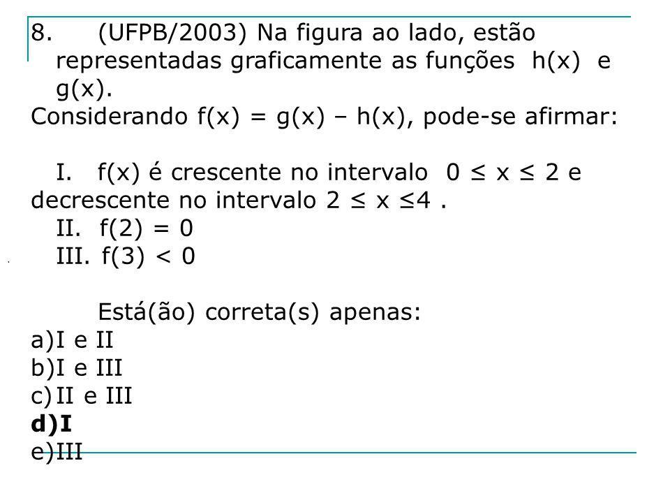 8.(UFPB/2003) Na figura ao lado, estão representadas graficamente as funções h(x) e g(x). Considerando f(x) = g(x) – h(x), pode-se afirmar: I.f(x) é c