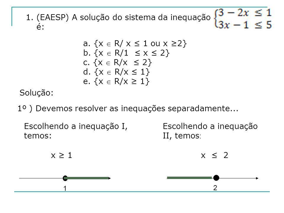 1. (EAESP) A solução do sistema da inequação é: a. {x R/ x 1 ou x 2} b. {x R/1 x 2} c. {x R/x 2} d. {x R/x 1} e. {x R/x 1} Solução: 1º ) Devemos resol